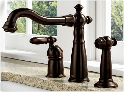bronze faucets kitchen delta 155 rb dst single handle kitchen faucet with spray venetian bronze touch on