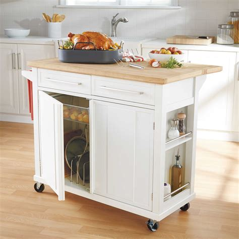 rolling islands for kitchen real simple 174 rolling kitchen island in white 300 bed bath