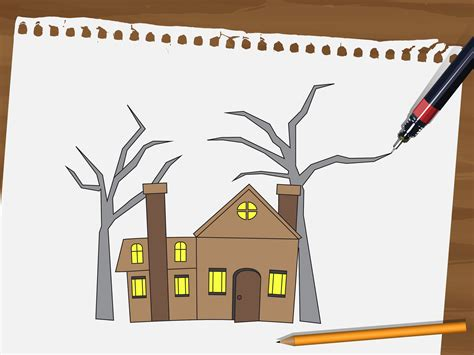 how to draw a haunted house how to draw a haunted house 15 steps with pictures wikihow