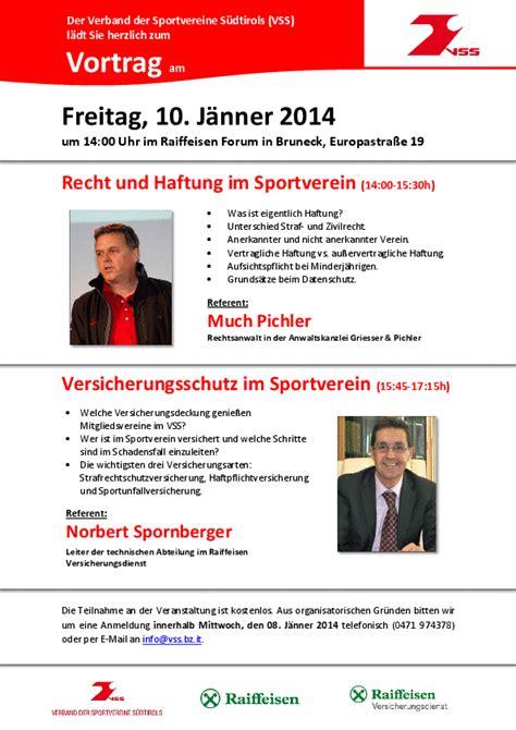 Versicherungen Bruneck by Verband Der Sportvereine S 252 Dtirols Seminare Kurse