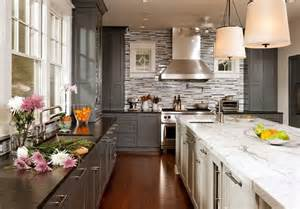White And Gray Kitchen Cabinets by Grey And White Kitchen Cabinets Gray Perimeter Cabinets