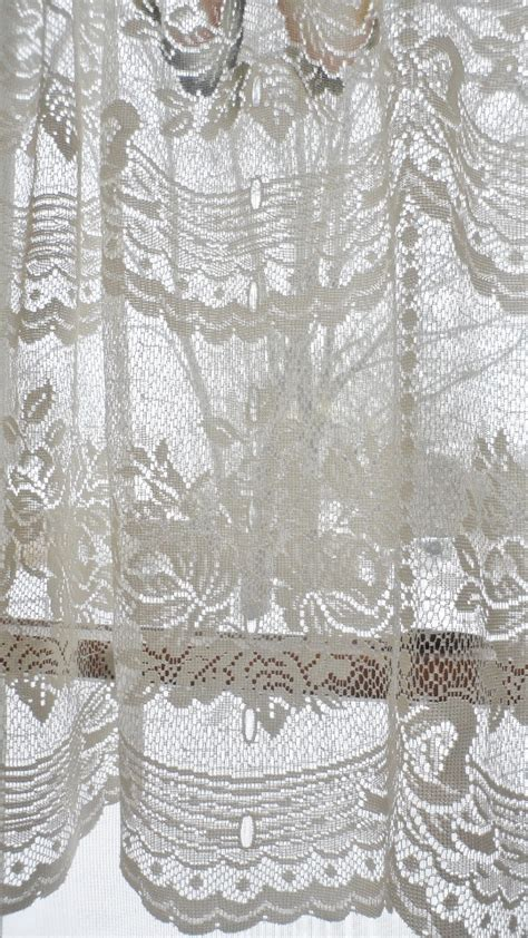 ivory lace curtains pair vintage victorian rose shabby cottage chic ivory lace