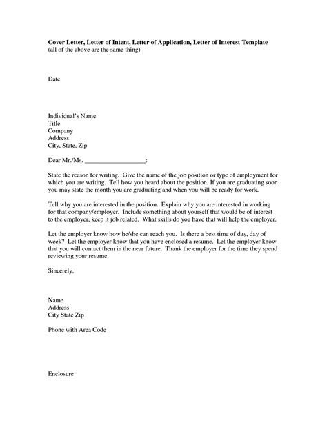 Letter Of Interest Template For A by Sle Cover Letter Of Interest For Employment