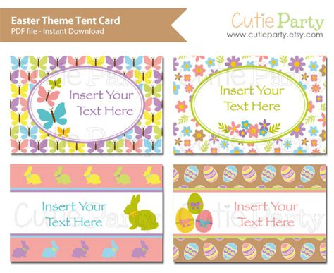 easter themed names spring theme tent card easter party printable easter theme