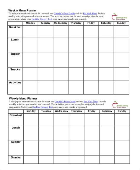calendar menu template printable menu planning template 9 free word pdf