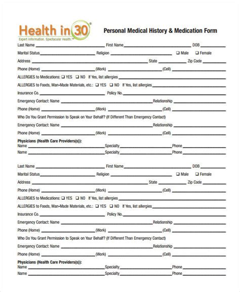 personal medical history template enom warb co