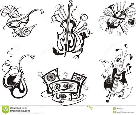 clipart musicali strumenti musicali stilizzati illustrazione vettoriale