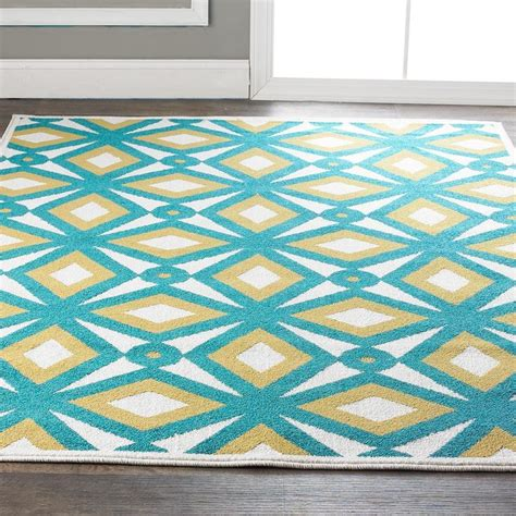 Contemporary Outdoor Rugs Modern Kaleidoscope Indoor Outdoor Rug Available In 2 Colors Teal G
