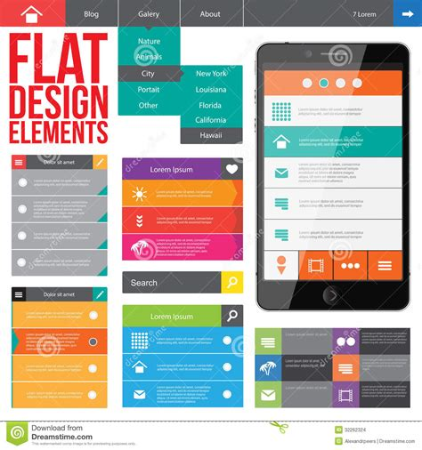 web design layout elements flat web design stock vector image of buttons internet