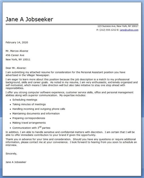 covering letter for personal assistant personal assistant cover letter sle