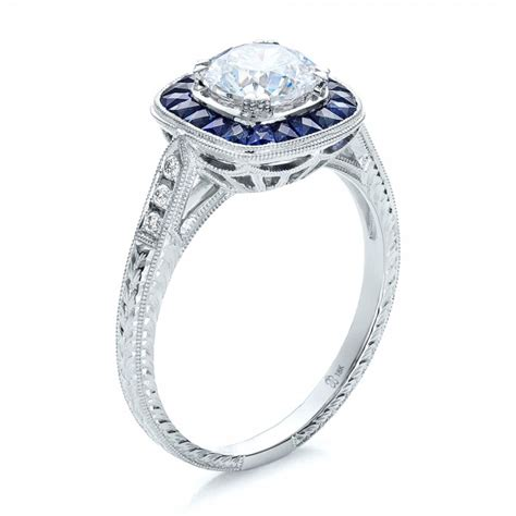 deco engagement rings sapphire deco style blue sapphire halo and engagement ring