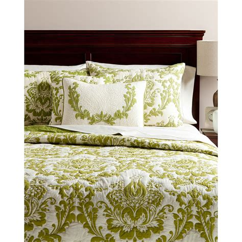 green quilted coverlet damask quilt green