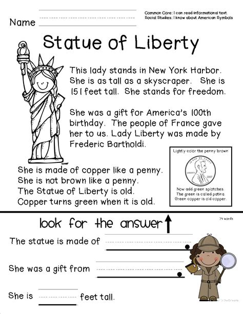 statue of liberty worksheets abitlikethis