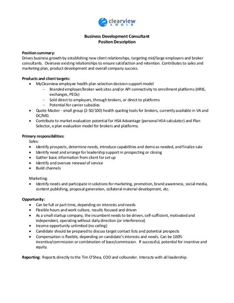 Business Development Consultant Cover Letter by Business Development Consultant Description