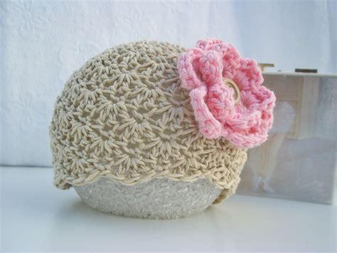 Crochet For Baby crochet baby hat baby hat newborn baby hat beige pink flower organic cotton