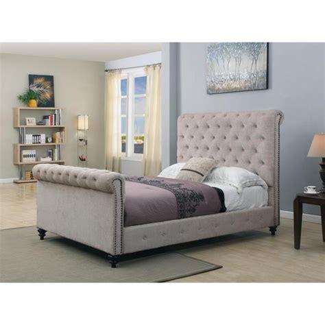 overstock upholstered bed beige tufted upholstered sleigh bed overstock shopping