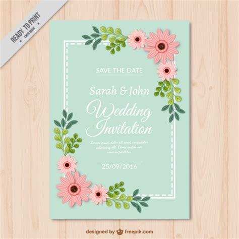 decorative card design decorative wedding card with flowers vector free download