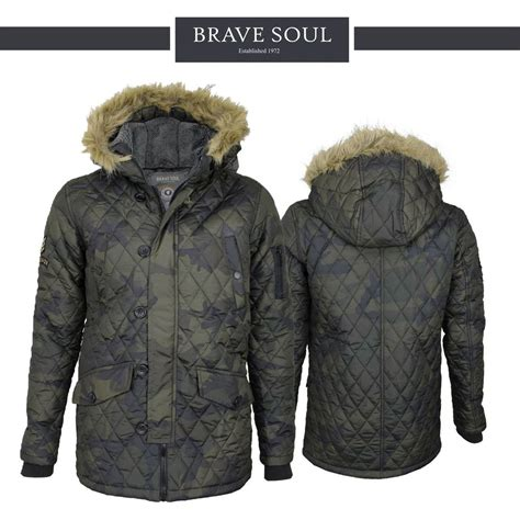 Mens Quilted Parka by Mens Brave Soul Noel Camo Padded Quilted Parka