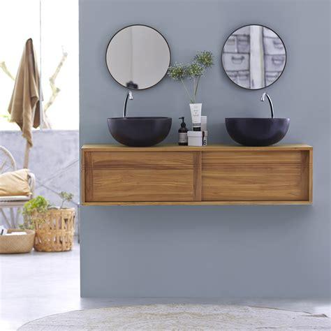 meuble salle de bain teck suspendu meuble vasque en teck vasques basic duo chez tikamoon