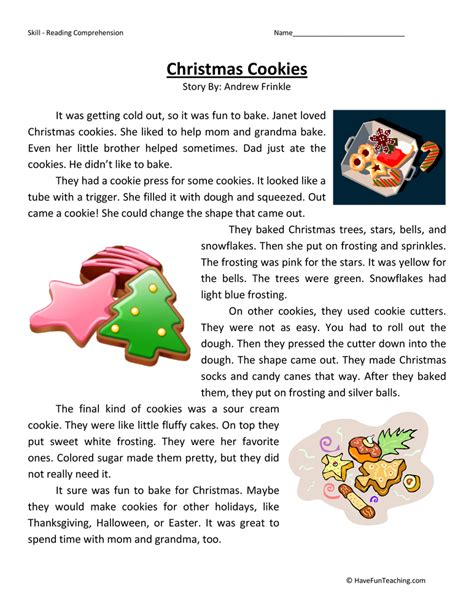 free christmas printable worksheets reading comprehension reading comprehension printables for christmas christmas