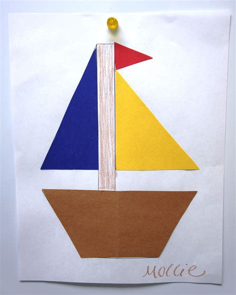 Paper Canoe Craft - colors shapes sunflower storytime