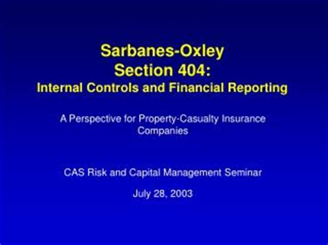 sarbanes oxley section 404 ppt annual unit certification of financial results and