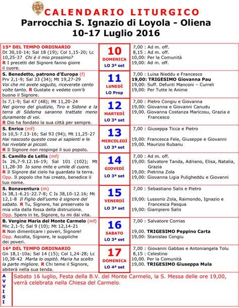 Calendario Liturgico 2016 Calendario Liturgico 10 17 Luglio 2016
