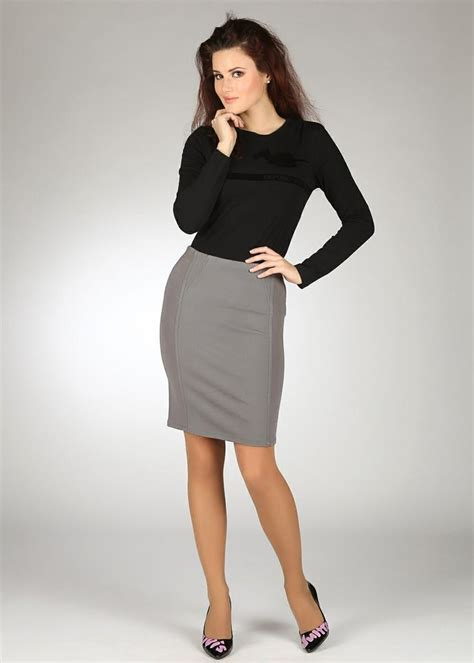 gray pencil skirt black top and black high heels she s