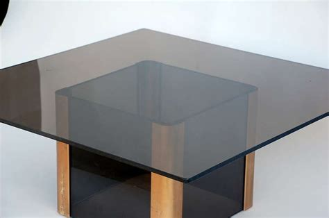 Smoke Glass L by Sleek Smoked Glass And Brass Coffee Table By Pace At 1stdibs