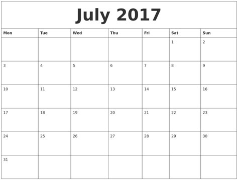 printable monthly calendar monday start july 2017 free printable monthly calendar