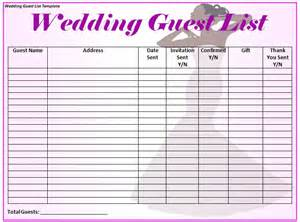 wedding guest excel template wedding guest list template word excel formats