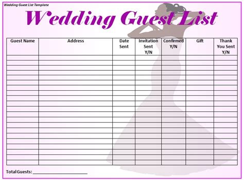 wedding guest list template excel wedding guest list template word excel formats