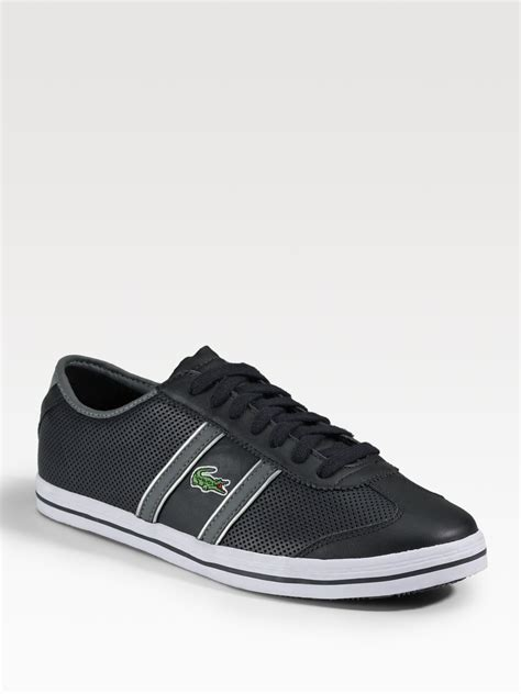 lacoste leather sneakers lacoste perforated leather sneakers in black for lyst