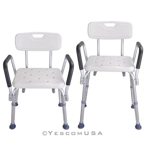 medical bath bench adjustable medical shower chair bathtub bench bath seat stool armrest back white ebay