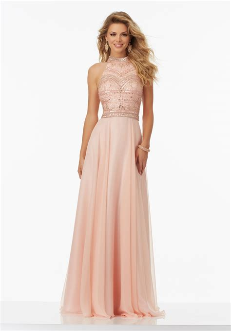 chiffon hairstyle chiffon prom dress with halter neckline style 99147