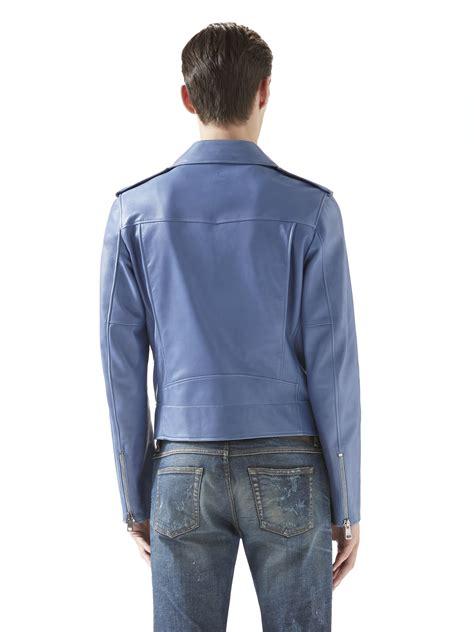 2 Die 4 Gucci Biker Jacket by Gucci Leather Biker Jacket In Blue For Lyst