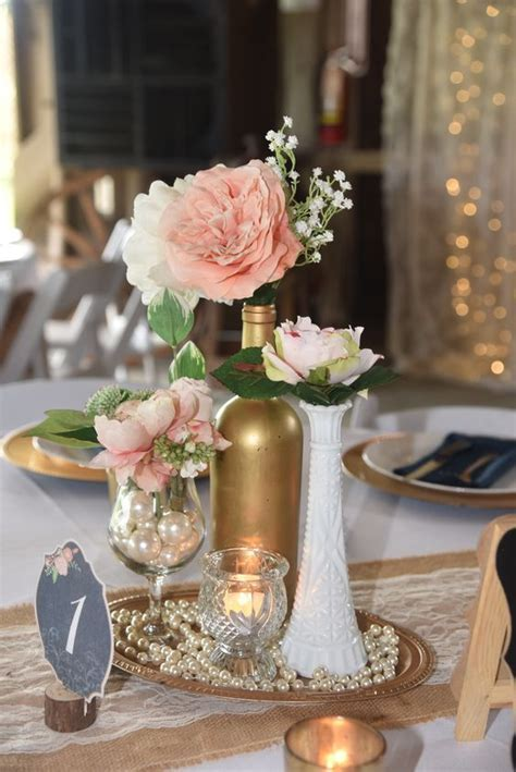 Vintage, elegant, centerpiece. milk glass, gold wine