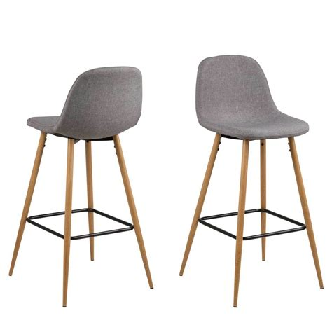 Tabouret De Bar Gris by G 233 N 233 Rique Lot De 2 Tabourets De Bar Willy En Tissu Gris