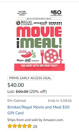 Where Can Regal Gift Card Be Used - ended amazon 25 brinker 25 regal cinema giftcards for 40 doctor of credit
