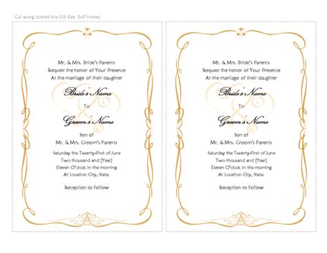 wedding card template word wedding invitation card template word