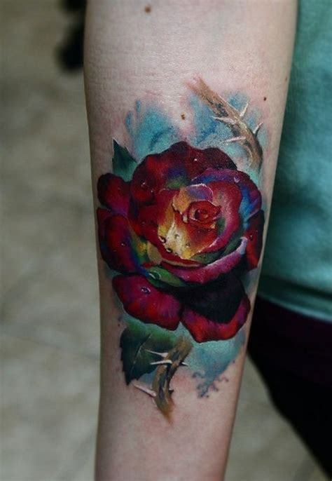 colourful rose tattoo designs our top 25 styles at
