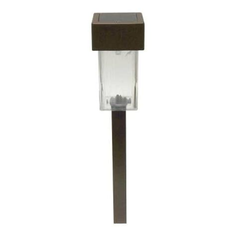 home depot solar outdoor lights malibu led solar mini square outdoor brown stake light