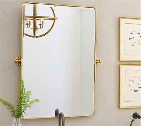 gold frame bathroom mirror vintage pivot mirror pottery barn