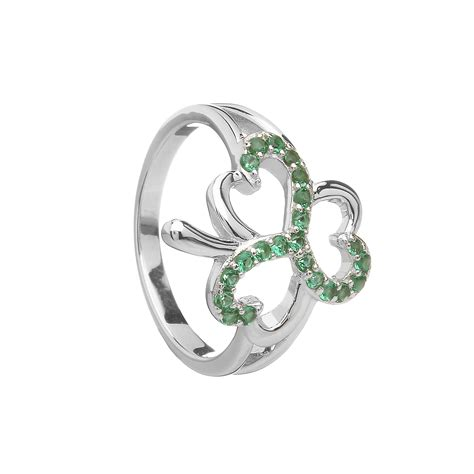 sterling silver shamrock design ring set with emerald