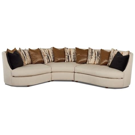 Curved Conversation Sofa Klaussner Euclid Three Curved Conversation Sectional With Scattered Back Pillows Efo