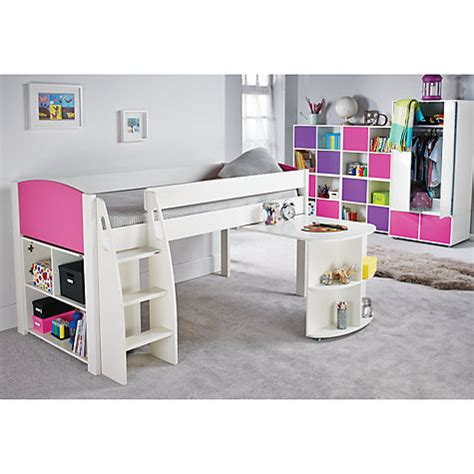 What Is A Mid Sleeper Bed by Buy Stompa Uno S Plus Mid Sleeper Bed With Pull Out Desk