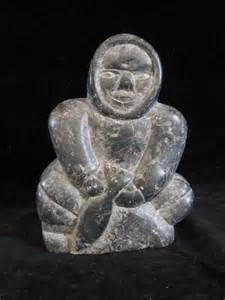 Inuit Soapstone Carvings Vintage Inuit Soapstone Carving Depicting An Inuit
