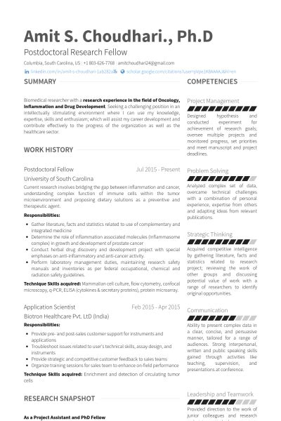 Curriculum Vitae Sample Format Doc by Postdoctoral Fellow Resume Samples Visualcv Resume