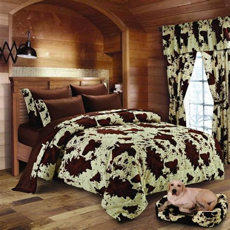 White Bedroom Set King 20 lakes super soft microfiber rodeo cow print comforter