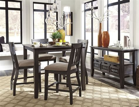 dresbar dining room table dresbar grayish brown square counter height dining room
